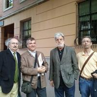 Con Antonio Colinas, Vicente Cervera y Eloy Sánchez Rosillo (2013)