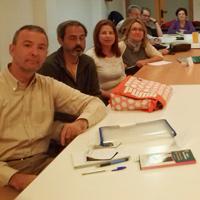En el taller sobre mis libros organizado por Marisa López Soria en la Bilioteca del Carmen, Murcia (2013)